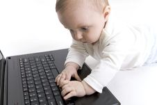 Free Baby With Laptop Royalty Free Stock Photo - 8457505