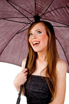 Free Sidepose Of Smiling Woman Holding Umbrella Stock Photography - 8457512