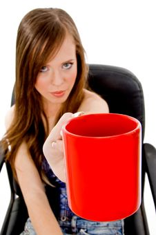 Front View Of Young Woman Offering Drink Royalty Free Stock Photos