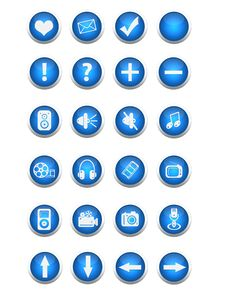 Free Blue Web And Multimedia Buttons Royalty Free Stock Photos - 8457648