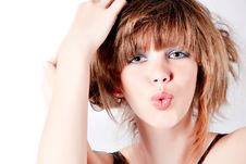 Free Portrait Of A Young Cute Girl Whisteling At You Stock Images - 8457704