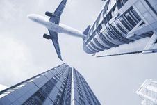 Free Airplane On The Top Of Modern Building. Stock Photo - 8457780