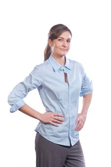 Business Woman Hands On Hips Royalty Free Stock Image