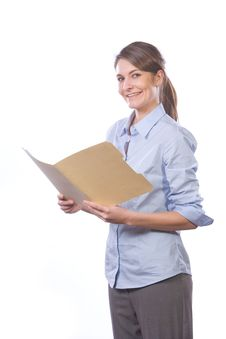 Free Business Woman Reading Documents In Modern Office Royalty Free Stock Photography - 8458457