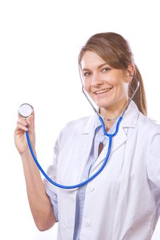 Free Woman Doctor Holding Stethiscope Stock Photo - 8458530