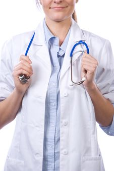 Free Woman Doctor Holding Stethiscope Stock Photos - 8458543