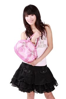 Free Asian Girl With Pink Handbag Royalty Free Stock Photography - 8459147