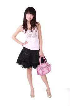 Free Asian Girl With Pink Handbag Stock Photography - 8459322