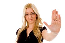 Free Portrait Of Young Woman Showing Stopping Gesture Stock Photo - 8459360