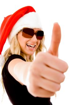 Free Smiling Female With Christmas Hat Showing Thumb Up Stock Image - 8459431