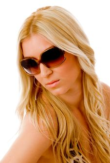 Free Portrait Of Sensuous Woman Wearing Sunglasses Royalty Free Stock Images - 8459969