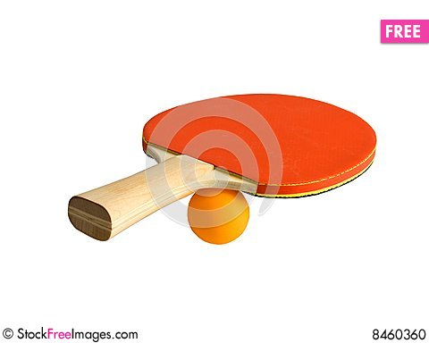 Ping-pong racket with ball Stock Photo