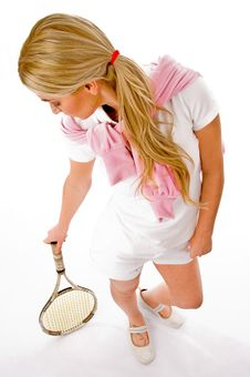 Young Woman Standing With Tennis Racket Royalty Free Stock Photos