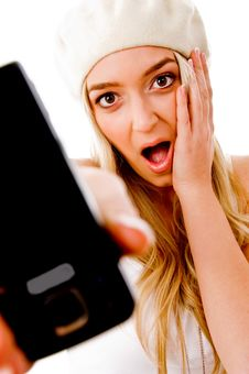 Free Portrait Of Surprised Young Female Showing Mobile Stock Image - 8460151