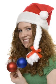 Christmas, Red Haired Teenager With Decoration Stock Image