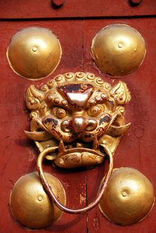 Free Pengzhou, China: Lion Door Knocker Royalty Free Stock Photography - 8460667