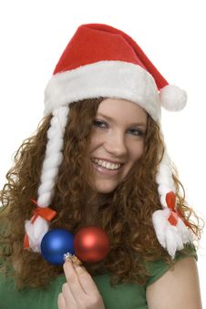 Free Christmas, Red Haired Teenager With Decoration Royalty Free Stock Photos - 8460708