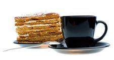 Free Black Cup And Piece Of Honey Cake Stock Image - 8460711