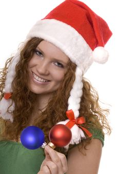 Christmas, Red Haired Teenager With Decoration Royalty Free Stock Photos