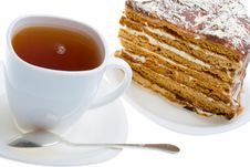 Free Tea Cup And Piece Of Honey Cake Royalty Free Stock Images - 8460929