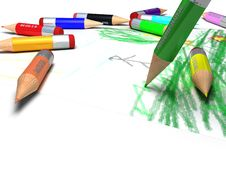 Color Pencils Drawing A Picture Royalty Free Stock Images