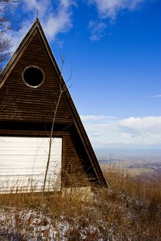Log Cabin In Mountains Royalty Free Stock Photography