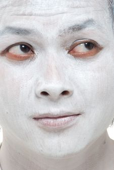 White Makeup Asian Boy With Different Expressions Royalty Free Stock Photography