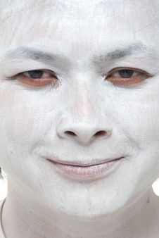 White Makeup Asian Boy With Different Expressions Stock Photography