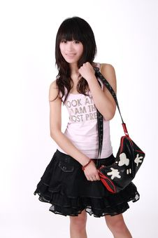 Free Asian Girl With Handbag Stock Photo - 8461710