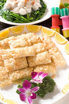 Chinese Almond, Cream, And Shrimp Rolls Stock Photos