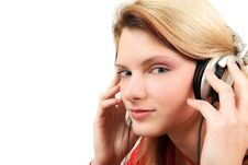 Free Young Woman Has A Moment With Headphones Stock Photos - 8462533