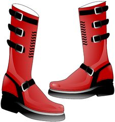 Red High Stomper Boots Royalty Free Stock Photography