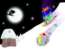 Free Christmas Skiing Stock Photography - 8464462