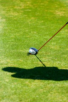 Golfer S Shadow While Preparing To Put Stock Images
