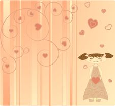 Free The Girl On The Pink Background With Hearts Stock Photo - 8465750