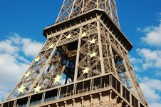 Eiffel Tower With EU Symbol Stock Images