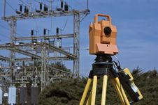 Free Surveying Under Electric Wires Stock Photos - 8467483