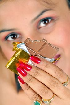 Free Indian Model With Chocolate Stock Photography - 8467662