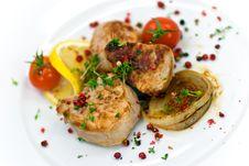 Free Pork Fillet-tenderloin,with Baked Onion,tomato Stock Image - 8468461