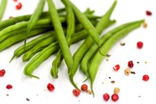 Free Fresh Green Beans With Grains Of Red Pepper Stock Photography - 8468912