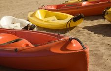 Free Four Canoes On Sand Stock Photography - 8470102