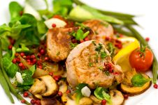 Free Roasted Pork Fillet - Tenderloin With Vegetables Stock Images - 8470304