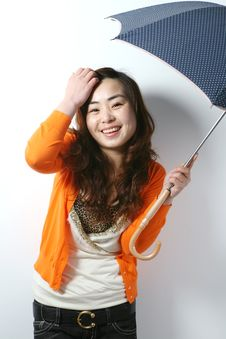 Free Young Girl With Umbrella Stock Photo - 8472010