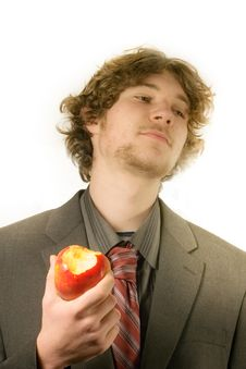 Free Man With An Apple Royalty Free Stock Image - 8472576