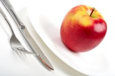 Free Utensils And Red Apple Royalty Free Stock Photo - 8473385