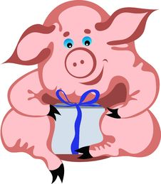 Happy Piglet Opening His Gift Royalty Free Stock Photos