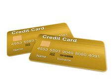Free Two Golden Credit Card Stock Images - 8474014