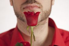 Free Part Of Man S Face With Red Rose In Front Royalty Free Stock Photos - 8474288