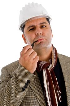 Free Adult Architect With Tobacco Pipe Stock Image - 8475261
