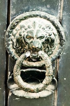 Lion Doorknocker Stock Photo